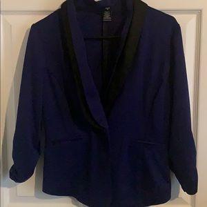 Dark purple blazer with black accents